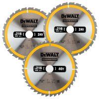 DeWalt DT1962 3-delige Construction Cirkelzaagbladen set - 165 x 30 x 24T / 40T - Hout (Met nagels)