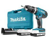 Makita HP457DWE - Perceuse visseuse à percussion 18V Li-Ion (2x batterie 1.3Ah) dans coffret