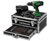 Hitachi DS18DJL(LC) / (WK) Perceuse visseuse à batteries 18V Li-Ion set (2x batterie 1,5Ah) dans coffret inclu. set d'accessoires 100 pièces